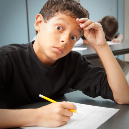 Fifth grader taking a science quiz